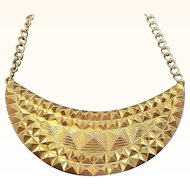 Vintage Dimensional Geometric Pyramids Goldtone Metal Necklace