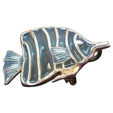 Vintage Blue Silvertone Metal Tropical Fish Pendant Brooch