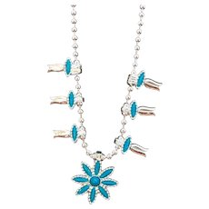 Vintage HMS Madeira Creations Silvertone Metal Blue Cabs Squash Blossom Style Necklace