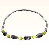 Vintage Genuine Hematite Stone Beaded Choker Necklace