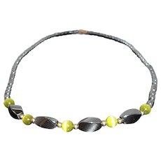 Vintage Genuine Hematite Stone Beaded Choker Necklace