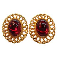 Vintage Oval Shaped Red Glass Cabochon Stone Clip on Earrings