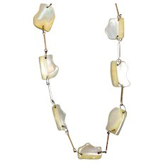 Vintage Unusual Mother of Pearl Nuggets Hand Made Necklace