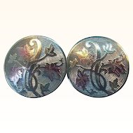 Vintage Textured Floral Designs Silvertone Metal  Adjustable Screw On Earrings