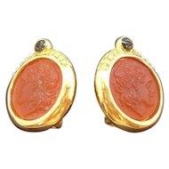 Vintage Cameo Style Goldtone Metal Clip on Earrings