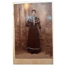 Vintage Studio Cabinet Photograph Lady Standing  New Braunfels, Texas