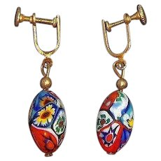 Vintage Red Millefiori Venetian Glass Dangle Beaded Screw On Earrings