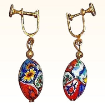 Vintage Red Millefiori Venetian Glass Dangle Beaded Screw On Earrings