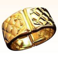 Vintage Textured Goldtone Metal Clamper Bracelet