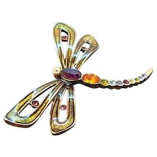 Vintage Monet Rhinestone Enameled Dragonfly Brooch