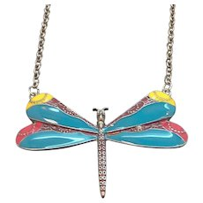 Vintage Large Multi Colored Enameled Dragonfly Necklace