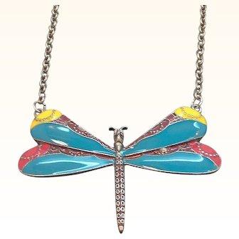 Vintage Large Multi Colored Enameled Dragonfly Necklace
