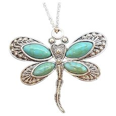 Vintage Textured Silvertone Metal Blue Dragonfly Pendant Necklace