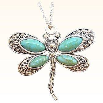 Vintage Textured Silvertone Metal Blue Dragonfly Pendant Necklace