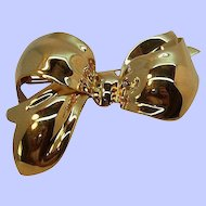 Vintage Monet Large Dimensional Goldtone Metal Bow Brooch