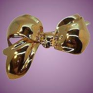 Vintage Monet Large Dimensional Goldtone Metal Bow Brooch