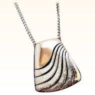Retro Silvertone Metal Pendant Necklace