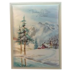 Vintage Fabric Holiday Card Thinking of You at Christmas