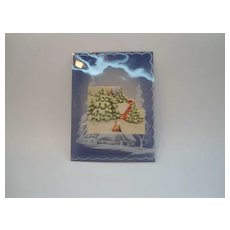 Vintage Unusual Small Clear Plastic Christmas Card