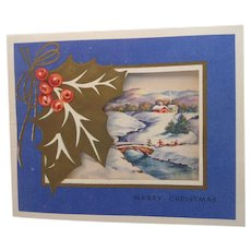 Vintage Blue Holiday Card with Holly Winter Scene Christmas Card