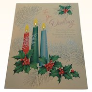 For You Darling Large Textured Christmas Card Embellished with Rhinestones