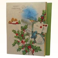 Vintage Merry Christmas Daughter Blue Bird on Mailbox Embellished Feather