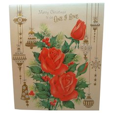 Merry Christmas to the One I Love Red Roses Holly Ornaments Large Card
