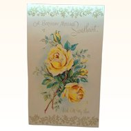 Large Vintage Card Yellow Roses A Birthday Message Sweetheart Circa 1950s