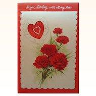 Large Vintage Hearts & Carnations Valentine Card