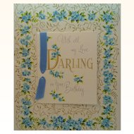 Vintage Birthday Card  With All My Love Darling on Your Birthday Circa 1950s