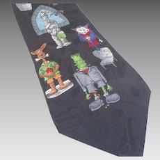Vintage Hallmark Halloween Cartoon Designs Silk Tie