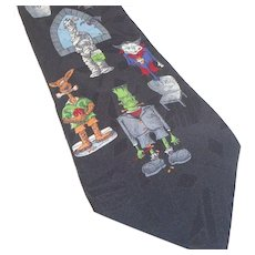 Vintage Hallmark Halloween Cartoon Designs Silk Tie