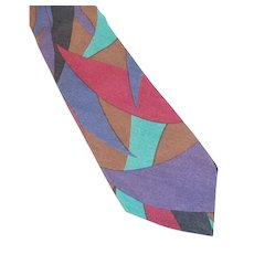Vintage Perry Ellis Silk Tie Abstract Purple Magenta Blue Designs