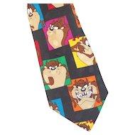 Vintage Colorful Tasmanian Devil Looney Tunes Silk Necktie