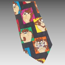 Vintage Colorful Tasmanian Devil Looney Tunes Silk Necktie