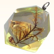Vintage Chunky Dimensional Lucite Pendant Filled with Fish & Sea Weed