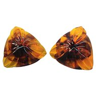 Vintage Triangular Shaped Textured Honey Colored Lucite Clip on Earrings