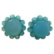 Vintage Lisner Sky Blue Moonglow Lucite Clip on Earrings
