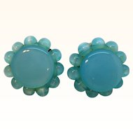 Vintage Lisner Sky Blue Moonglow Lucite Clip on Earrings