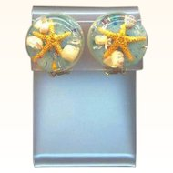 Vintage Blue Lucite Filled with Shells Starfish Confetti Glitter Clip on Earrings