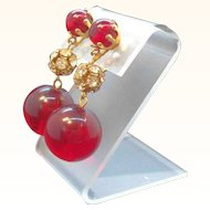 Vintage Red Lucite Rhinestones Dangle Clip on Earrings