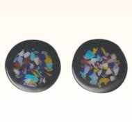 Vintage Black Lucite Filled with Colored Confetti Pierced Earrings