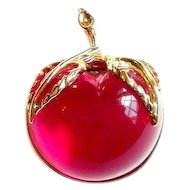Vintage Sarah Coventry  Lucite Apple Pin Burgundy 1972