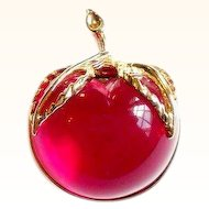 Vintage Sarah Coventry  Lucite Apple Pin Burgundy 1972