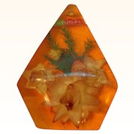 Vintage Orange Lucite Dried Flower Filled Thick Pendant