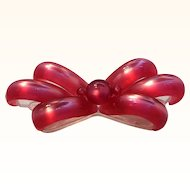 Vintage Raspberry Moonglow Lucite Dimensional Bow Brooch