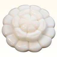 Vintage White Layered Thermoset Plastic Flower Brooch