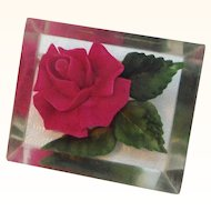 Vintage Lucite Embedded Red Rose Green Leaves Brooch