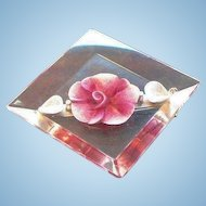 Vintage Pink Flower Filled Lucite Pin
