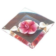 Vintage Pink Flower Filled Lucite Pin